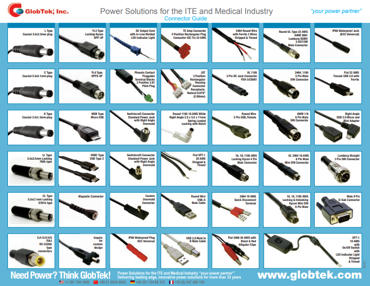 This Product Selector Guide for Output connectors offers a single-sheet summary of popular connector and accessory offerings from GlobTek. GlobTek offers a vast offering of output connector and cable assembly options from it's in house cable assembly plant. The guide includes standard battery pack and power cord offerings.